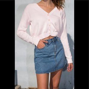 Brandy Melville pastel pink Billie cardigan
